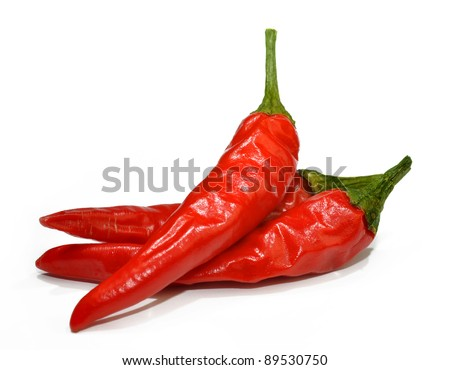 Red hot chilli peppers isolated on white background - stock photo