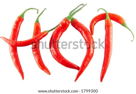 "Red hot chilli peppers spelling the word ""hot"""