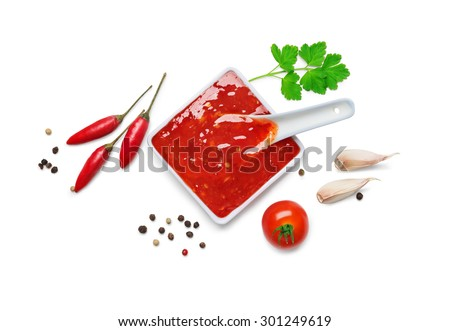 red hot chilli sauce  isolated on a white background.Top view - stock photo