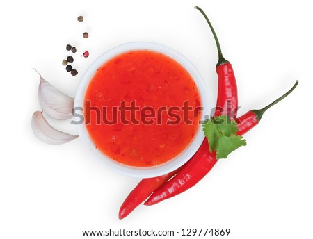 red hot chilli sauce isolated on white  background - stock photo