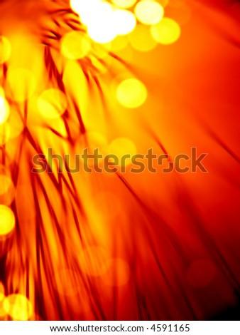 red hot fiber optics strands close-up - stock photo