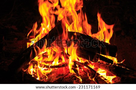 red hot flame in darkness - stock photo