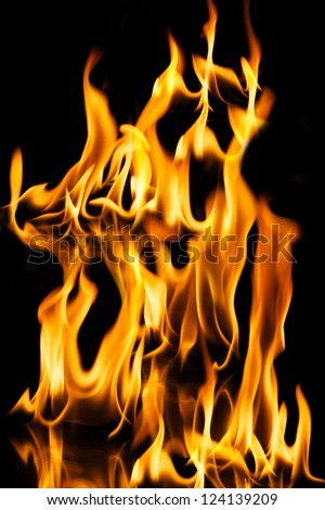 red hot flame of fire isolated on black - stock photo