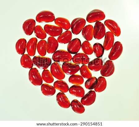 Red hot heart on isolated on the white  background - stock photo