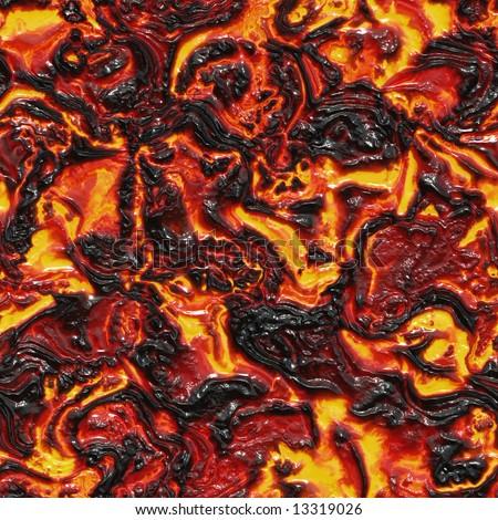 Red-hot molten lava flow - seamless texture - stock photo