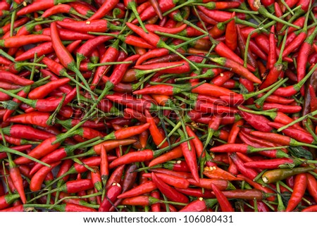 Red hot peppers background from north area in thailand - stock photo