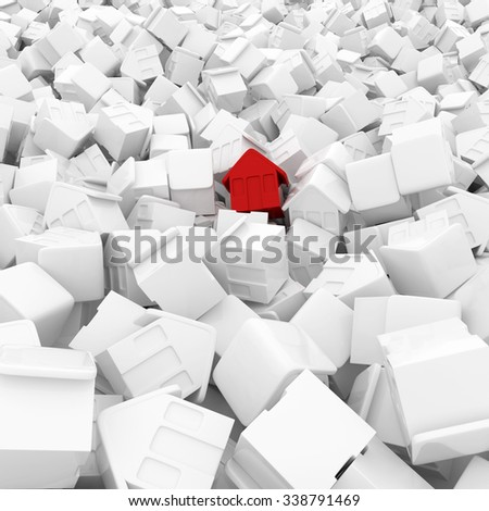 Red House in a pile of white