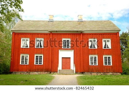 Red house in Drottningholm Palace, Sweden - stock photo