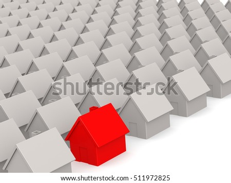 Red house in estate on white, 3D rendering
