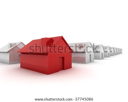 Red house in the foreground 'standing out from the crowd' concept image - stock photo