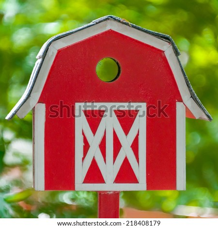 Red House Mailbox - stock photo