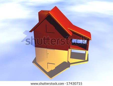 Red House Model on Blue-Sky Background with Reflection Concept Risk or Danger