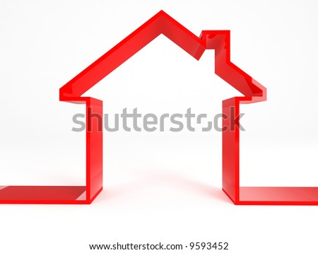 red house on white background - stock photo