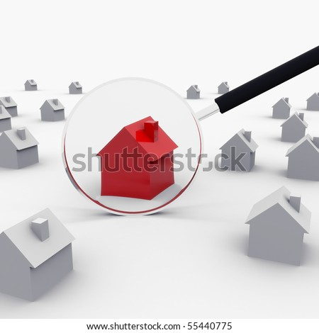 Red House under the magnifying glass - a concept of real estate market.