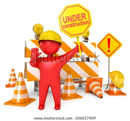 Red Human at a stop pose. Traffic cones. Under construction sign. Road sign. Construction Helmet. Icon isolated on white background. 3d render - stock photo