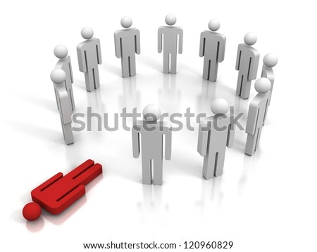 red human figure lying out of team group - stock photo