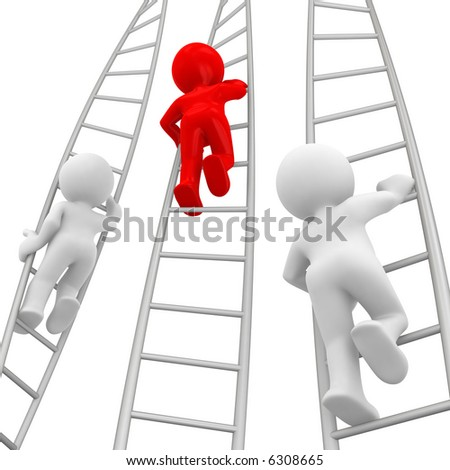 red human go up before other white humans