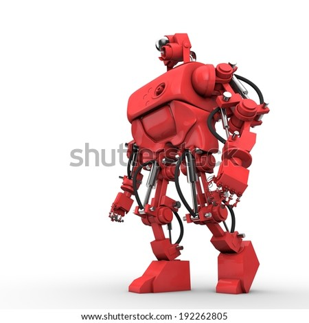 Red humanoid robot hydraulically operated stands sideways.