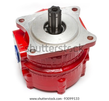 red hydraulic pump isolated - stock photo