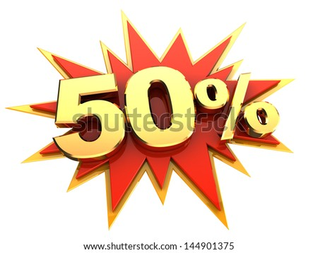 red icon of starburst with golden sign of fifty percent, isolated