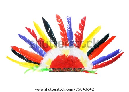 Red Indian Party Headgear on White Background - stock photo