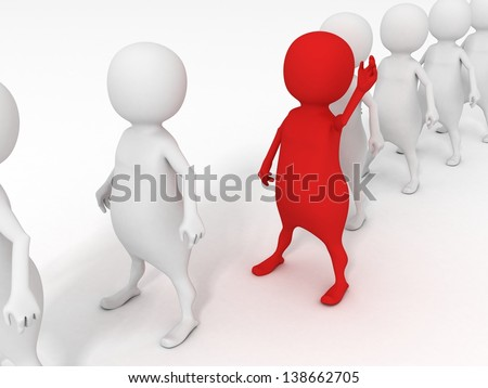 red individual 3d man in white human row - stock photo