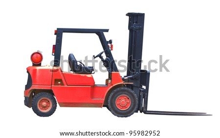 red industrial fork lift truck isolated on white background - stock photo