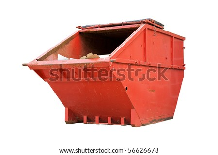 Red Industrial Waste Bin Isolated Over White