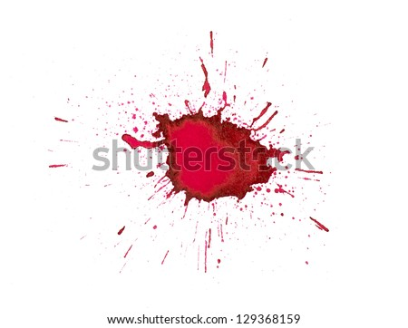Red ink splashes - stock photo