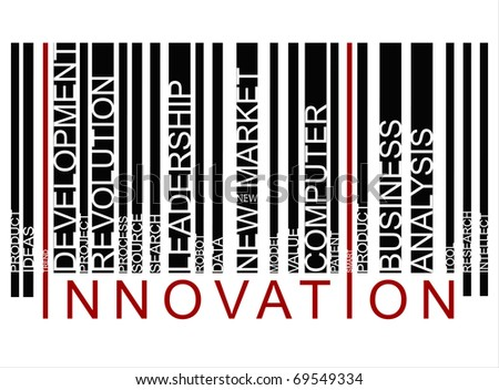 red innovation bar code - stock photo