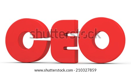 red inscription CEO on a white background - stock photo