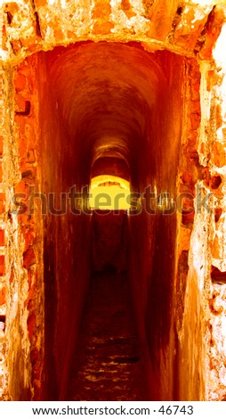 Red inside Sentry Box at Fort El Morro - stock photo
