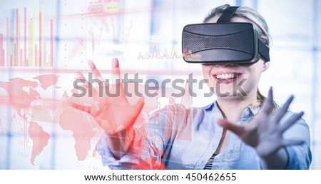 Red interface against woman enjoying virtual reality headset - stock photo