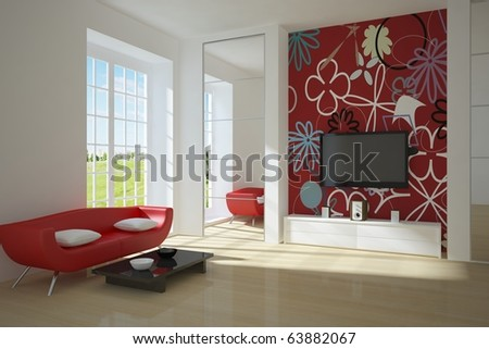 red interior composition