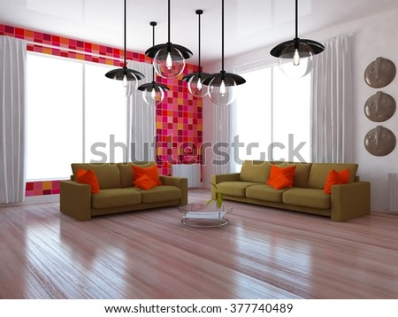 red interior of a living room. 3d concept