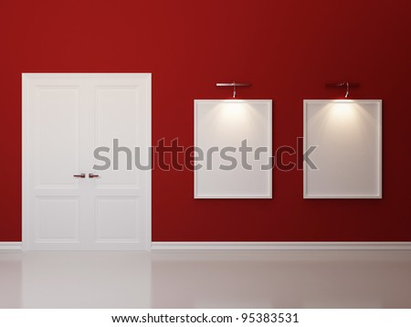 Red interior with empty picture frames