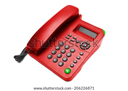 Red IP office phone isolated on white background - stock photo