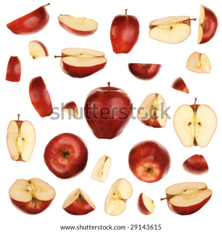 Red isolated apples collection - stock photo