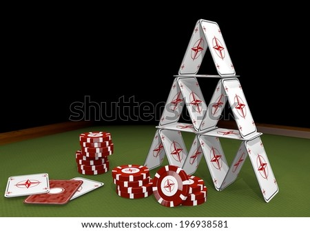 Red  isolated card 3d graphic with balanced compass symbol  on the casino table - stock photo
