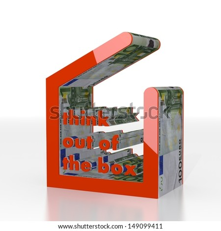 Red  isolated cash 3d graphic with new think out of the box symbol  with euro texture