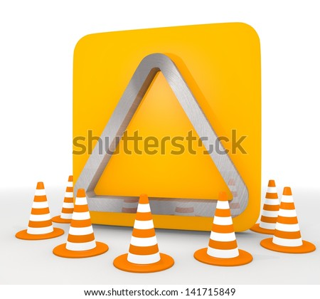 Red  isolated construction site 3d graphic with decorative triangle icon