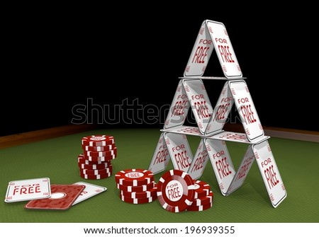 Red  isolated deduction 3d graphic with fragile free sign  on the casino table - stock photo