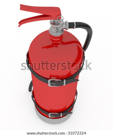 red isolated extinguisher with shiny surface and hose