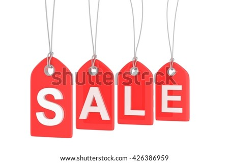 Red isolated sale labels on white background. Price tags. Special offer and promotion. Store discount. Shopping time. 3D rendering.