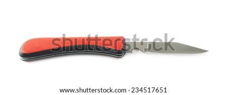 Red jackknife foldable steel pocket knife isolated over the white background - stock photo