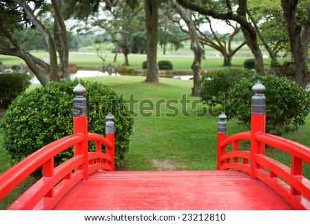 red japanese bridge - stock photo