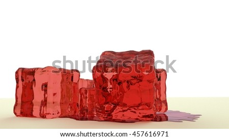 red jello stacked together isolated in white space 3d render - stock photo