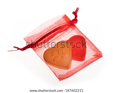 red jewelry bag isolated on white background - stock photo