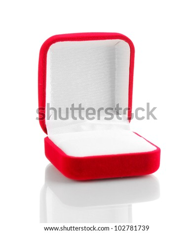 Red jewelry box isolated on white - stock photo