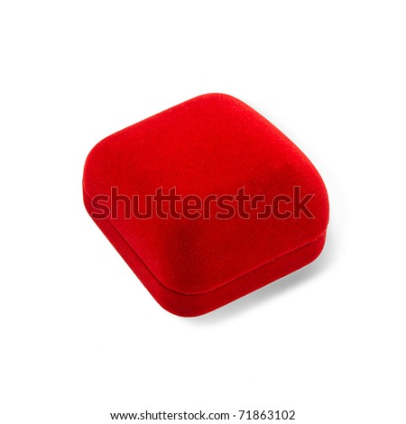 Red jewelry box to putting ring earring or others value stuff into it, an image isolated on white  - stock photo